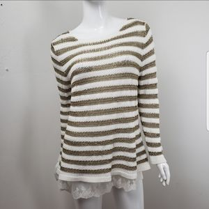Skye's the limit gold and white knitted  Sweater